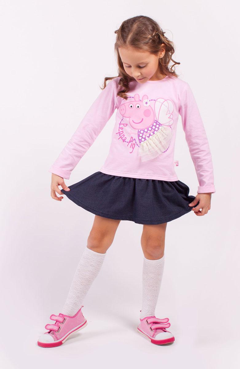 ПлатьеZG 14180-PD1Платье для девочки Peppa Pig от Free Age выполнено из эластичной хлопковой ткани. Модель с круглым вырезом горловины и стандартными длинными рукавами. Спереди изделие декорировано ярким принтом и сетчатой оборкой. Низ дополнен юбкой в складку.