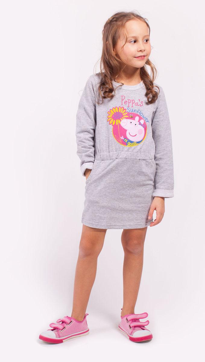 ПлатьеZG 14179-M1Удобное платье с длинным руковом для девочки декорированное принтом