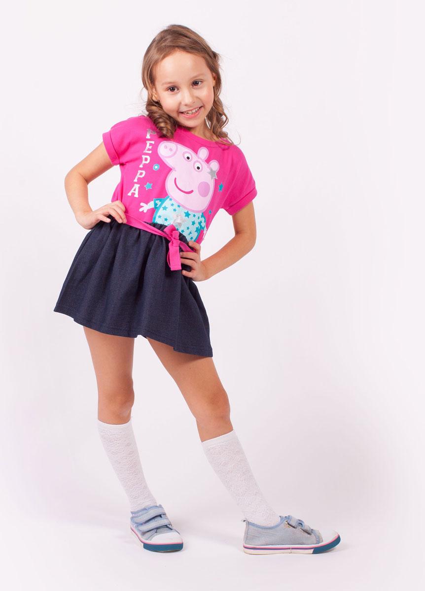 ПлатьеZG 13137-FD1Удобное платье с коротким руковом для девочке декорированное принтом