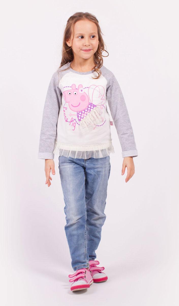 ДжемперZG 09291-MW1Комфортная толстовка для девочки, декорирована принтом и сеткой