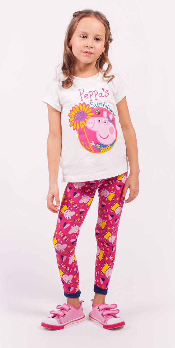 ЛеггинсыZG 19283-B1Леггинсы для девочки Free Age Peppa Pig изготовлены из натурального хлопка с добавлением эластана. Леггинсы в поясе имеют широкую эластичную резинку на поясе и небольшие контрастные манжеты по низу брючин. Изделие оформлено термоаппликацией с изображением мультипликационного героя Свинки Пеппа, а также надписью.