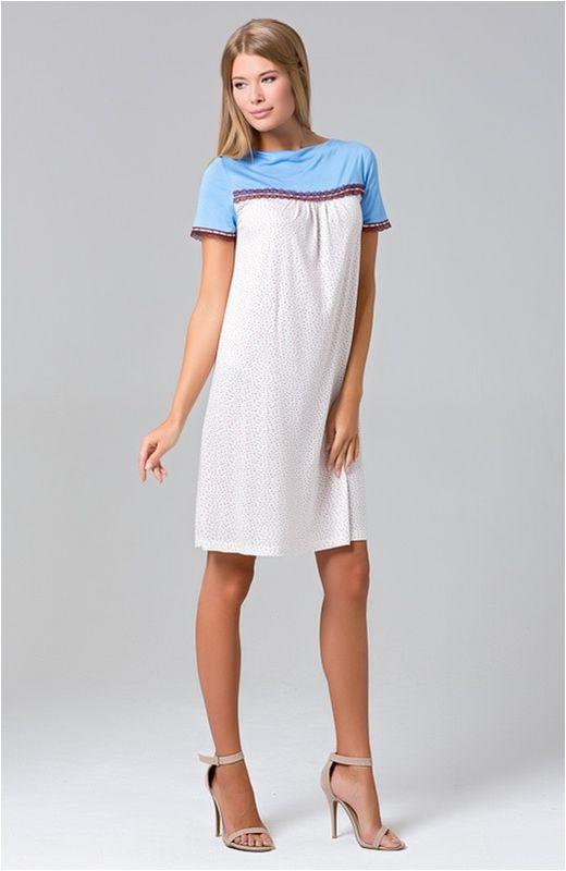 423С1Ночная сорочка с коротким рукавом из нежной вискозы.