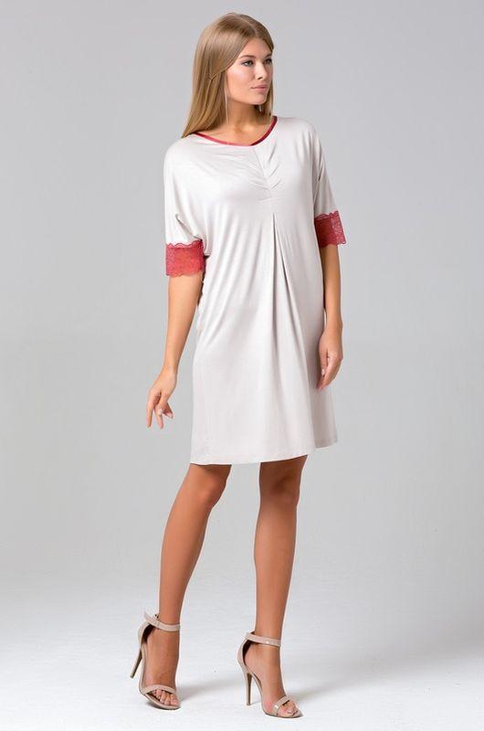 433С1Великолепная сорочка-платье из нежной вискозы. Рукава декорированы кружевом.