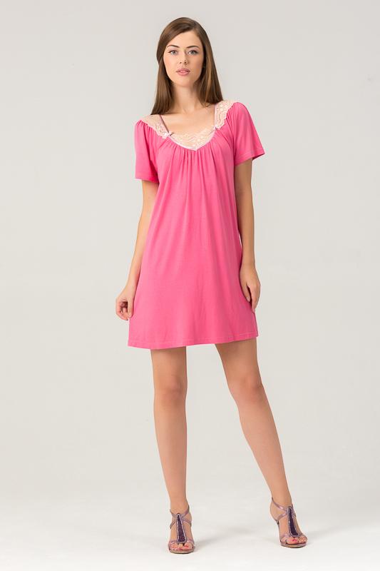Ночная рубашка453С1Женская ночная сорочка из нежного вискозного полотна. Длина - немного выше колена. Декорирована мягким кружевом.
