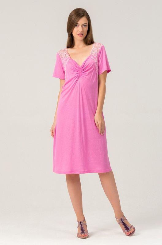 Ночная рубашка456С1Женская ночная сорочка из нежной вискозы. Длина - чуть ниже колена. Вставки мягкого кружева.