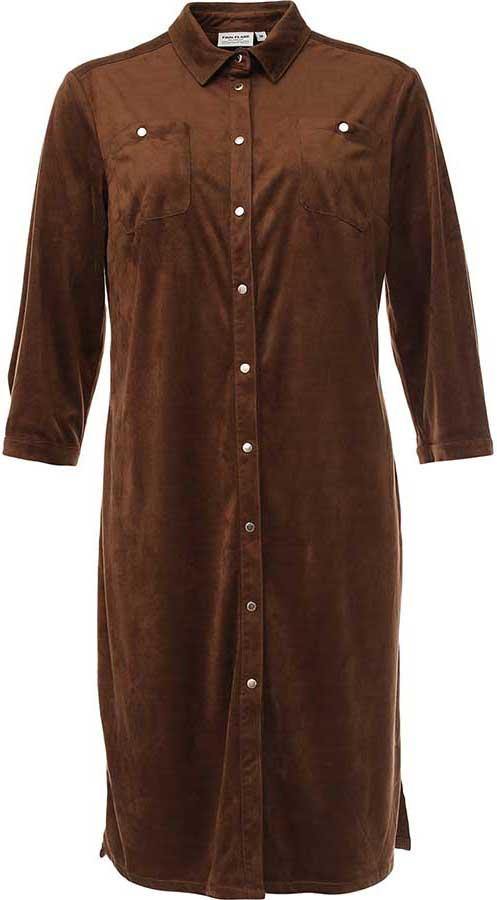 B17-11025Стильное платье Finn Flare изготовлено из мягкого полиэстера под велюр. Модель застегивается по всей длине переда на металлические кнопки. На груди имеются два накладных кармана, по бокам платья - разрезы. Манжеты рукавов застегиваются на кнопки.