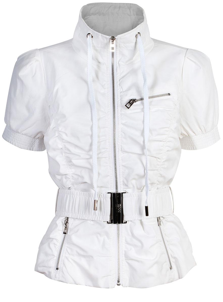 Куртка10304010/18175/1000NЖенская куртка oodji Ultra выполнена из высококачественного материала. Модель с воротником-стойкой застегивается на застежку-молнию. Спереди расположено три втачных кармана на застежках-молниях. Куртка дополнена эластичным поясом с металлической пряжкой.