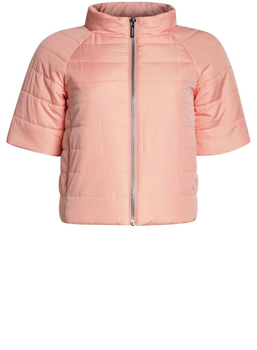 Куртка10207003/45420/4B00NЖенская куртка oodji Ultra выполнена из высококачественного материала, в качестве подкладки используется полиэстер. Утеплитель - синтепон. Модель с воротником-стойкой застегивается на застежку-молнию. Спереди расположено два втачных кармана.