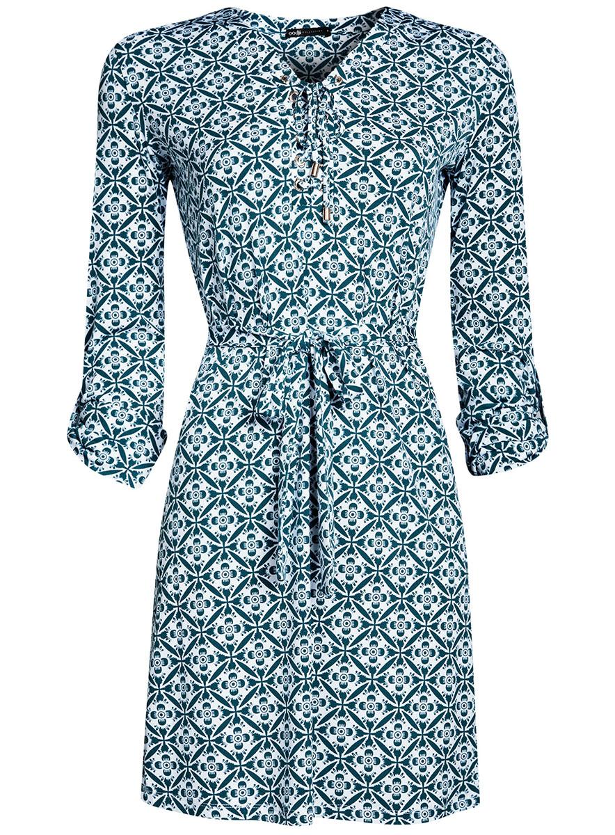 Платье24001109/43121/7970OСтильное платье полуприталенного кроя oodji Collection выполнено из качественного трикотажа и дополнено текстильным поясом. Модель средней длины имеет V-образный вырез горловины, оформленный шнуровкой. Рукава изделия подгибаются и фиксируются хлястиком на пуговице.