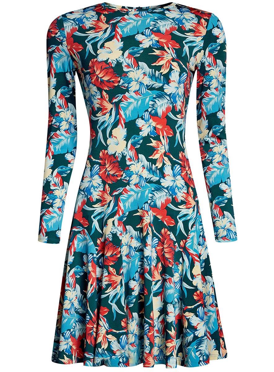Платье14011015/46384/2923GПриталенное платье oodji Ultra с расклешенной юбкой выполнено из качественного трикотажа. Модель средней длины с круглым вырезом горловины и длинными рукавами застегивается на скрытую молнию на спинке.