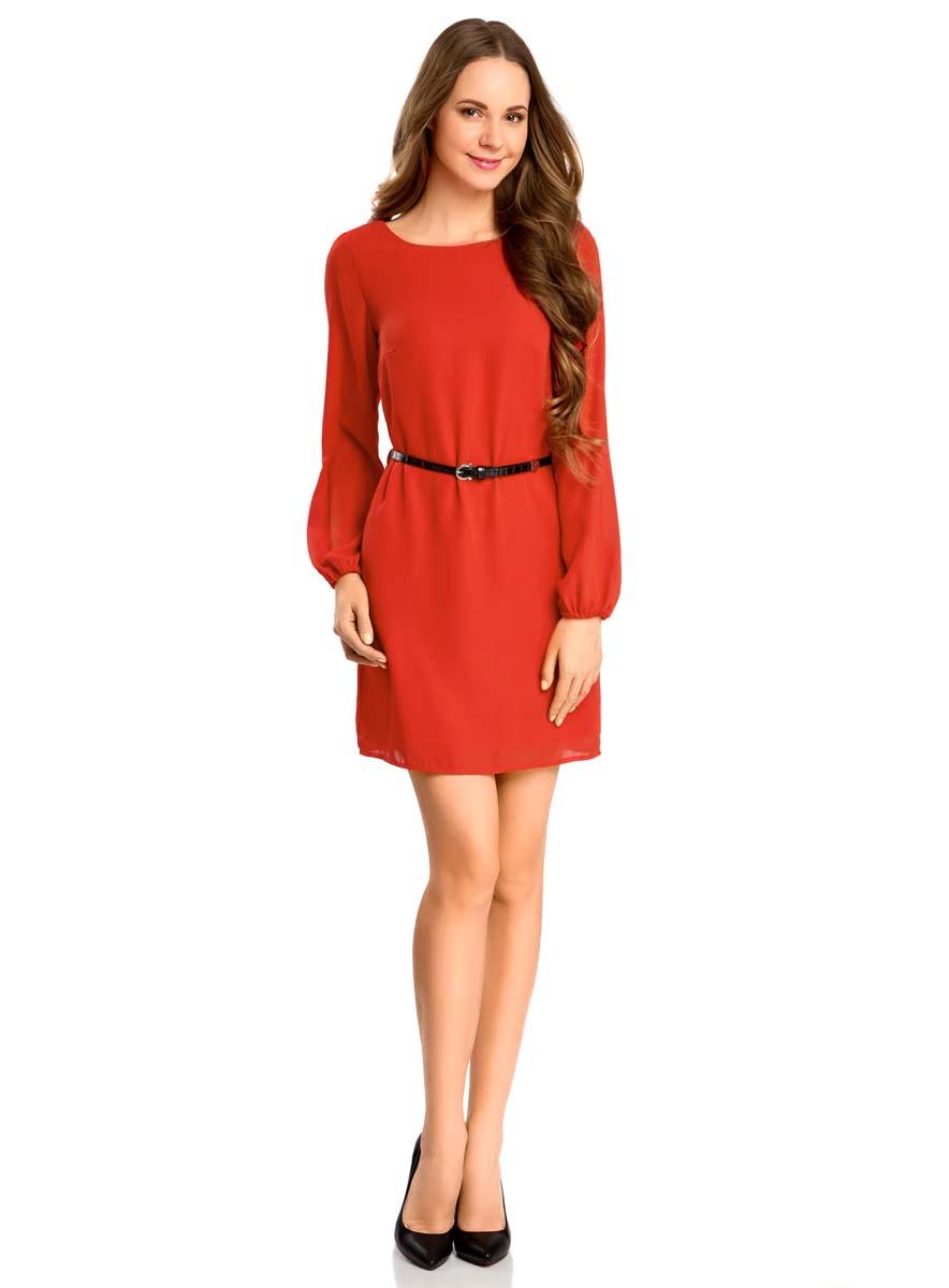 11900150-5B/32823/4500NСтильное платье oodji Ultra выполнено из 100% полиэстера. Модель с круглым вырезом горловины и длинными рукавами дополнена ремнем из искусственной кожи с металлической пряжкой.