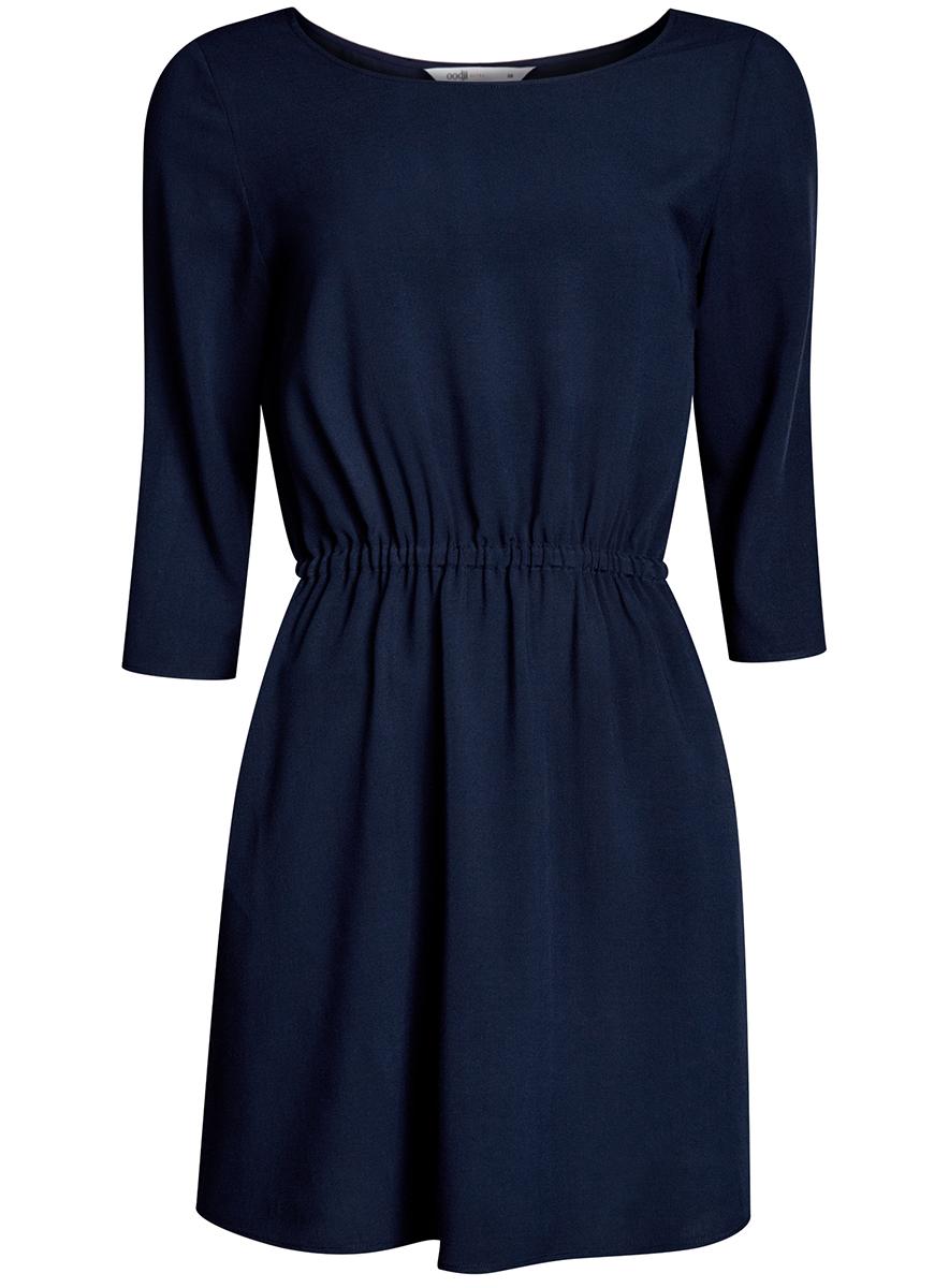 Платье11901153B/14897/6200NЛегкое платье oodji Ultra выполнено из вискозы. Модель мини-длины с круглым вырезом горловины и рукавами 3/4 имеет резинку на талии.