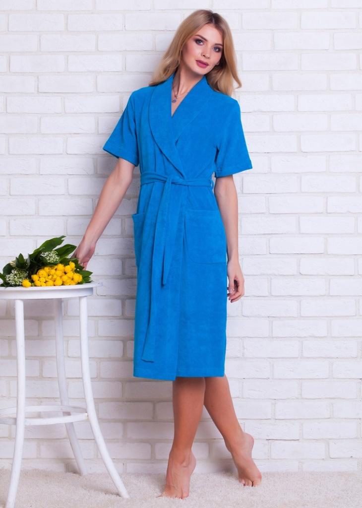 Халат341Удобный легкий женский халат из облегченной махры на запах.