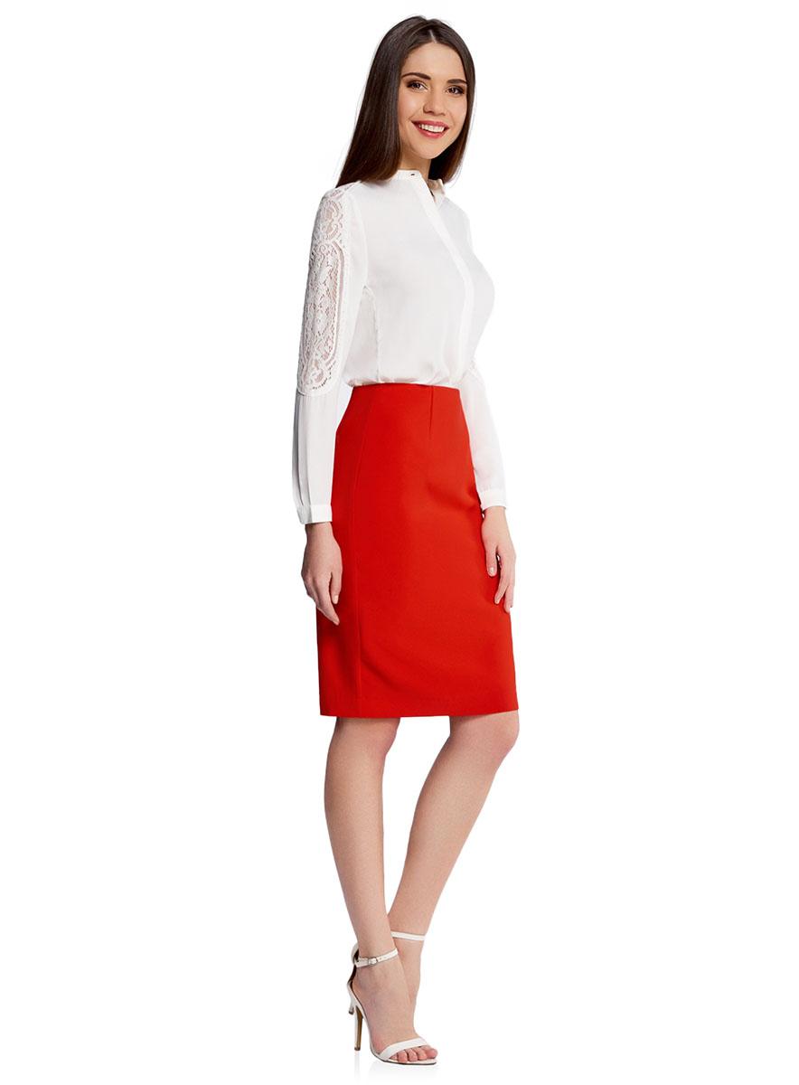 Юбка21600282B/42314/2900NСтильная юбка-карандаш выполнена из высококачественного материала. Сзади юбка застегивается на потайную застежку-молнию.