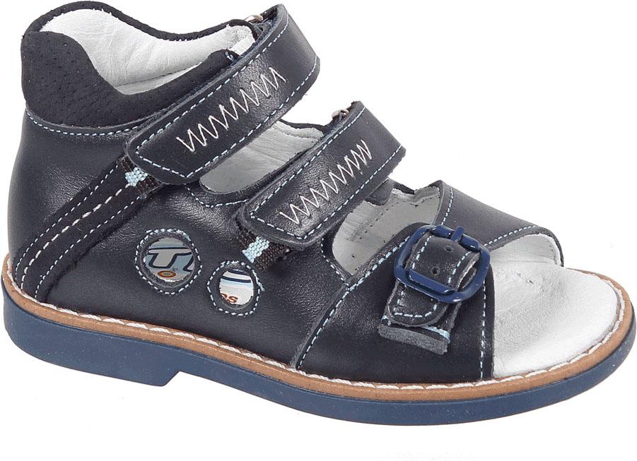 СандалииВ 079/17-22Сандалии для мальчика Tico изготовлены из комбинированной натуральной кожи. На ноге модель фиксируют ремешки: один из них на пряжке, два других - на липучке. Носок открыт. Внутренняя поверхность и стелька изготовлены из натуральной кожи. Подошва из термопластичного материала оснащена рифлением.