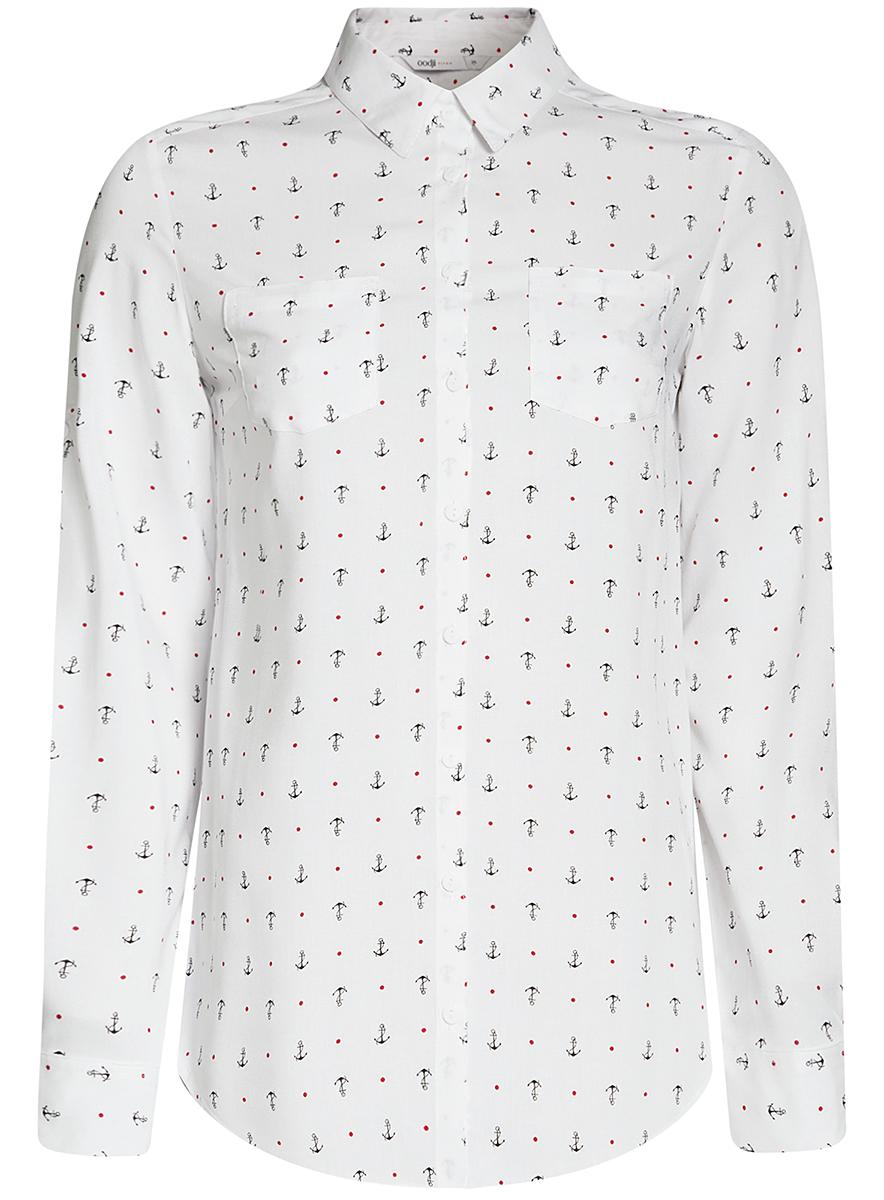 11400355-3B/14897/2900NБлузка с нагрудными карманами и регулировкой длины рукава
