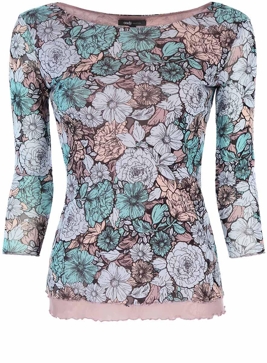 24201005/14385/7055FТрикотажная блузка oodji Collection выполнена полностью из полиамида. Приталенная модель с воротником-лодочкой и рукавами 3/4. Блузка оформлена цветочным принтом.