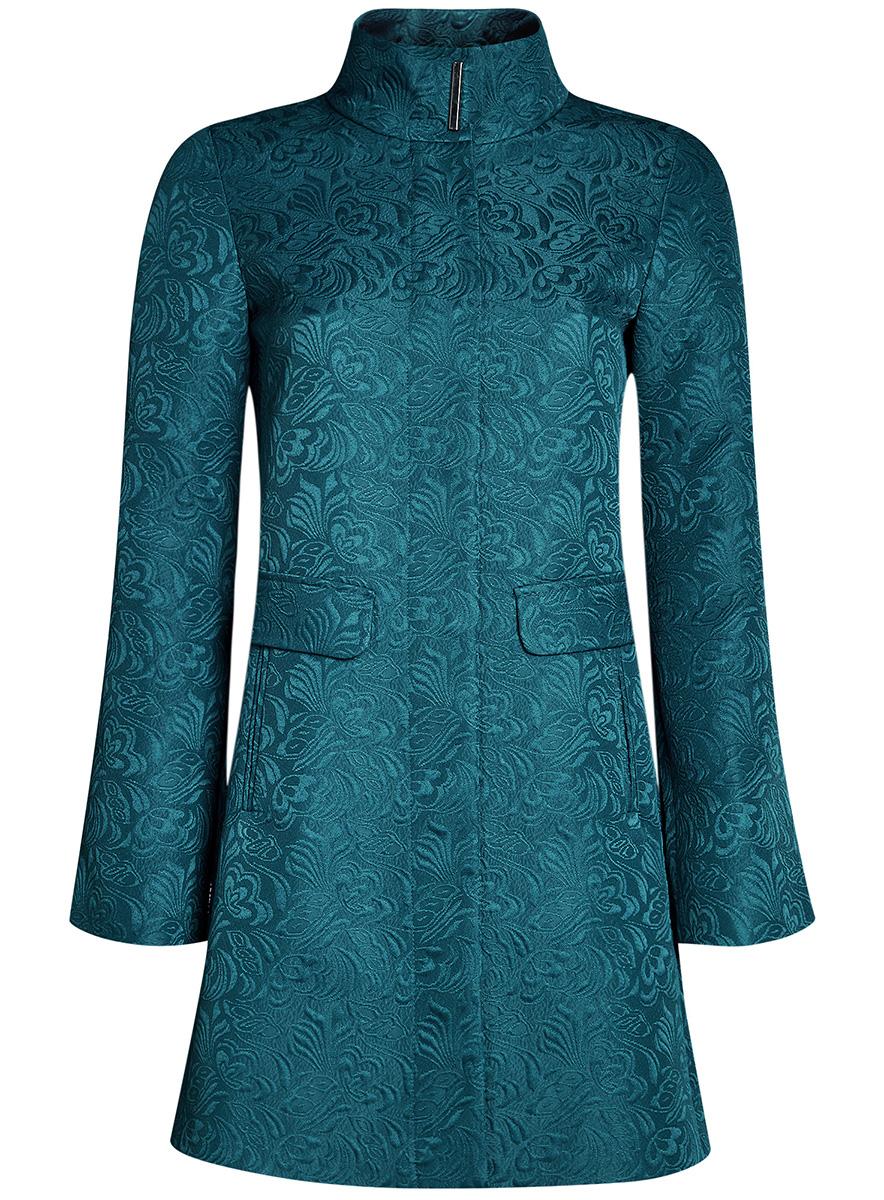 Пальто10104043/43312/2900NСтильное легкое пальто прямого силуэта oodji Ultra отлично подойдет на теплую весну и прохладное лето. Изделие выполнено из фактурной ткани и застегивается на скрытые кнопки. Модель с высоким воротником-стойкой и длинными рукавами дополнена двумя карманами и оформлена стильным цветочным узором.