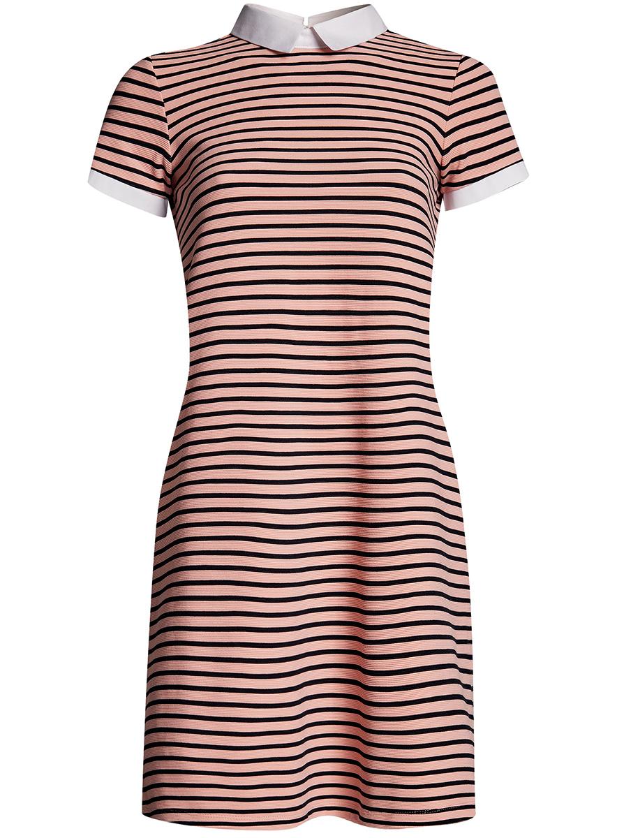 Платье14000166/46385/7300NОригинальное платье oodji Ultra А-силуэта выполнено из плотного трикотажа. Модель мини-длины с отложным воротничком и короткими рукавами застегивается на пуговицу на спинке. Воротник и манжеты рукавов выполнены из контрастного материала.