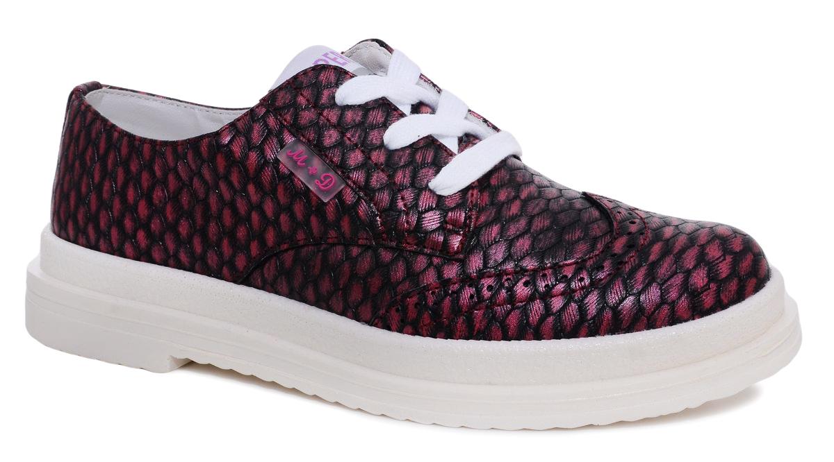 Полуботинки7207_11Стильные полуботинки для девочки М+Д изготовлены из качественной искусственной кожи с оригинальным принтом. Удобная шнуровка надежно зафиксирует обувь на ноге. Мягкая стелька обеспечивает комфорт при носке. Подошва и низкий широкий каблук оснащены рифлением для лучшего сцепления с различными поверхностями.