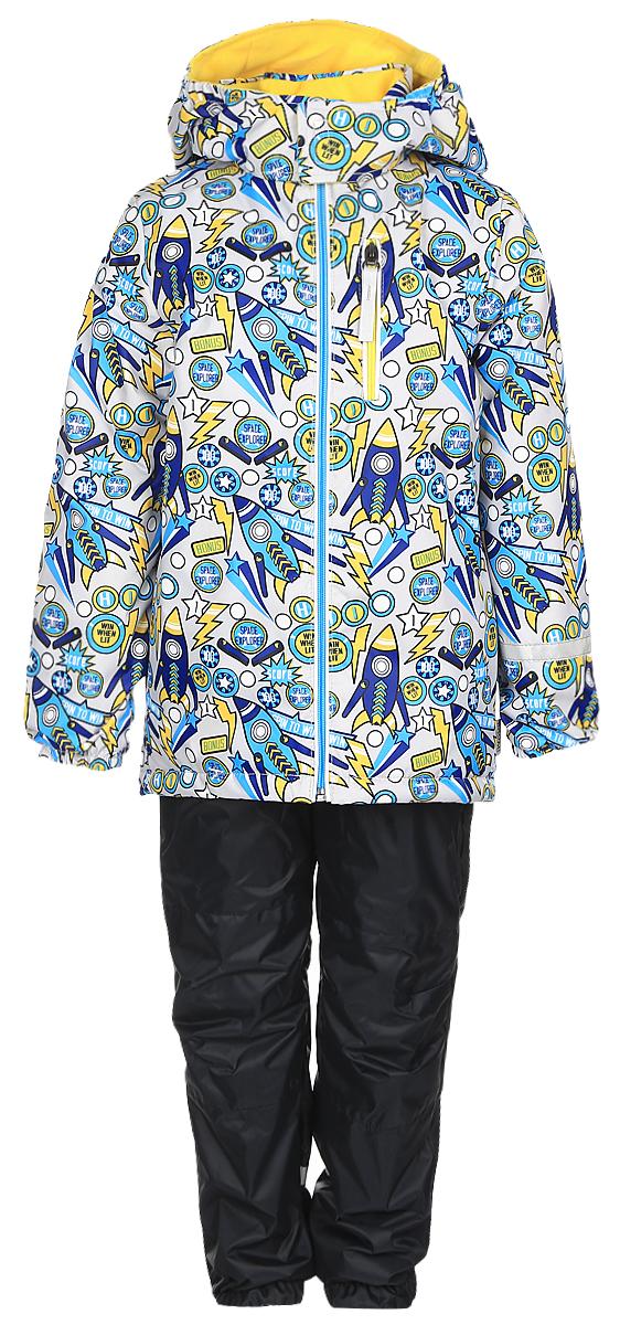 70045_BOB_вар.1Комплект одежды Boom! состоит из куртки и брюк. Куртка изготовлена из 100% полиэстера и оформлена оригинальным принтом. Подкладка выполнена из 100% полиэстера. В качестве утеплителя используется синтепон - 100% полиэстер. Куртка с капюшоном застегивается на застежку-молнию, которая расположена по всей длине куртки. Капюшон застегивается при помощи застежки липучки. Спереди модель дополнена двумя втачными карманами и одним прорезным карманом на застежке-молнии. Брюки изготовлены из 100% полиэстера. Брюки прямого кроя на талии имеют широкий эластичный пояс. По бокам предусмотрены два втачных кармана. Изделие дополнено эластичными наплечными лямками, регулируемыми по длине. Снизу брючин предусмотрены муфты с прорезиненными полосками, не дающие брючинам задираться вверх. Дополнен комплект светоотражающими элементами.