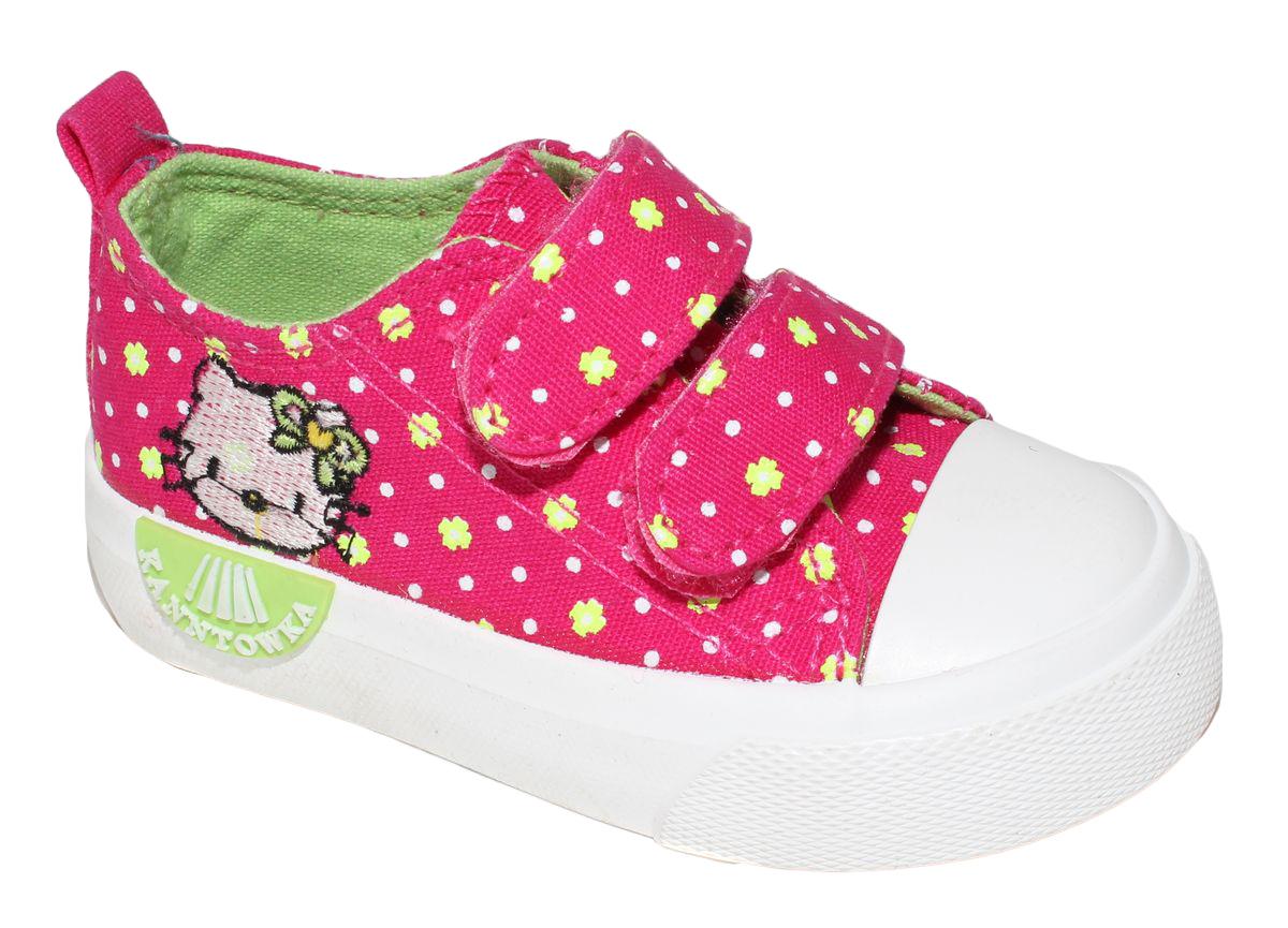 КедыD5868Кеды для девочки Капитошка очаруют вашего ребенка с первого взгляда! Модель выполнена из текстиля. Внутренняя поверхность из текстиля. Подошва с рифлением обеспечивает идеальное сцепление с любой поверхностью. Ремешки на застежках-липучках, обеспечивают надежную фиксацию обуви на ноге. Эффектные кеды приведут в восторг вашего ребенка!