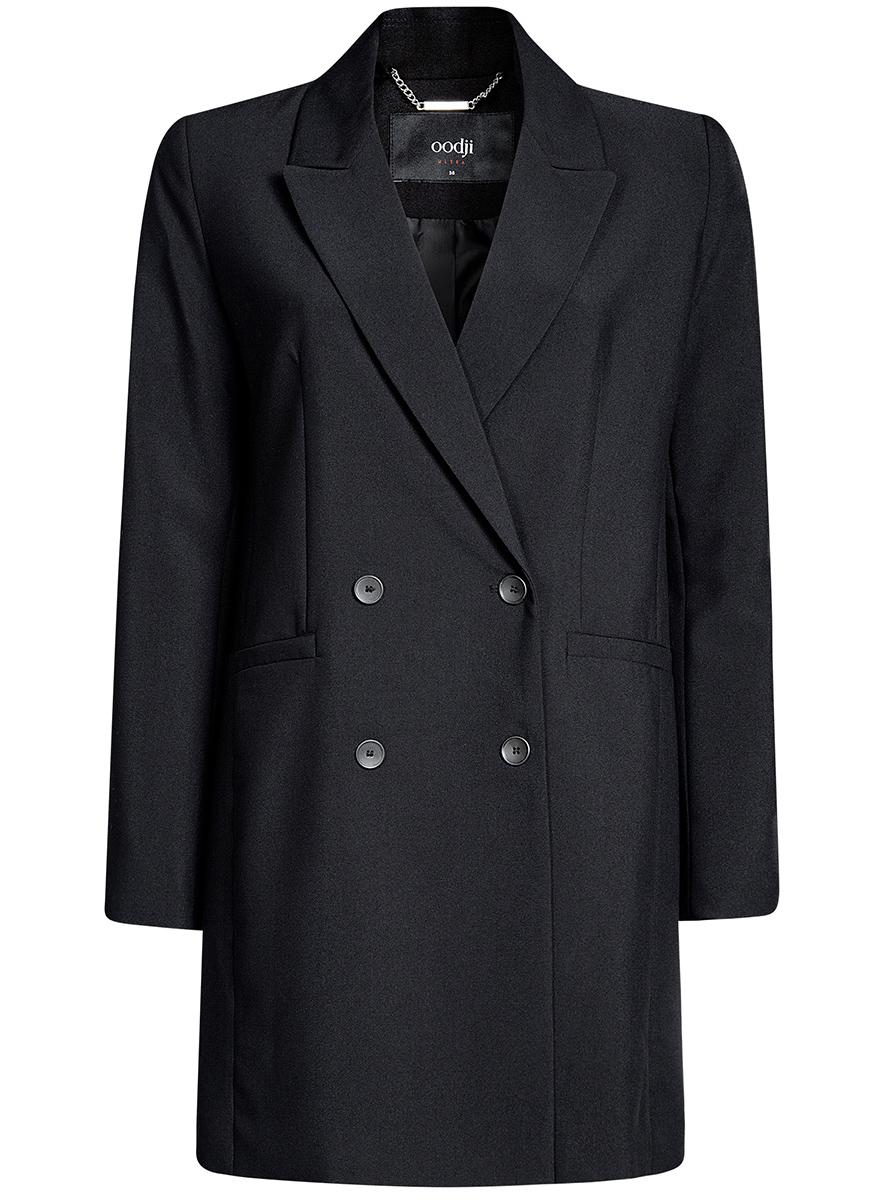 Пальто19903001/45660/2900NЛегкое двубортное пальто прямого силуэта oodji Ultra отлично подойдет на теплую весну и прохладное лето. Изделие выполнено из полиэстера с добавлением вискозы и эластана и застегивается на пуговицы. Модель с отложным воротником с лацканами дополнена двумя прорезными карманами.