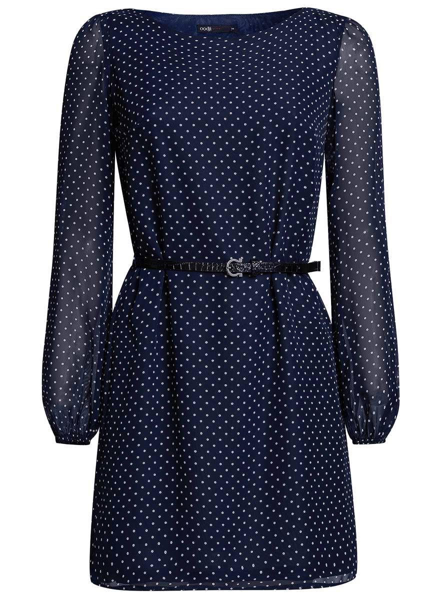 11900150-5/13632/3329AСтильное платье oodji Ultra выполнено из 100% полиэстера. Модель с круглым вырезом горловины и длинными рукавами оформлена интересным принтом. В комплект входит ремень из искусственной кожи с металлической пряжкой.