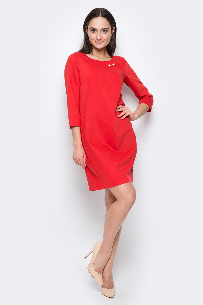 ПлатьеB17-11019Платье Finn Flare выполнено из полиэстера, вискозы и эластана. Модель с круглым вырезом горловины и рукавом 3/4 оформлена декоративной булавкой. Платье миди застегивается сзади на молнию.