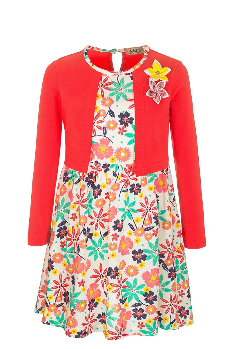 ПлатьеSJD27011M04Модное платье M&D выполнено из натурального хлопка. Платье с круглым вырезом горловины и рукавами застегивается по спинке на пуговицу. От линии талии заложены складочки, придающие платью пышность. Изделие оформлено оригинальным принтом и украшено цветами. Отделка и расцветка модели создают эффект 2 в 1 - платья с жакетом.