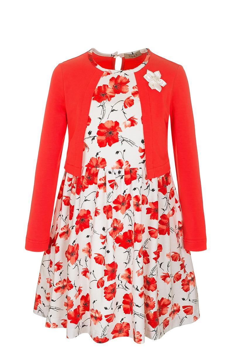 ПлатьеSJD27012M04Модное платье M&D выполнено из натурального хлопка. Платье с круглым вырезом горловины и длинными рукавами застегивается по спинке на пуговицу. От линии талии заложены складочки, придающие платью пышность. Изделие оформлено оригинальным принтом и украшено цветком. Отделка и расцветка модели создают эффект 2 в 1 - платья с жакетом.
