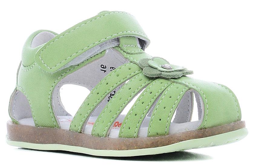 Сандалии034767Модные сандалии обязательно придутся по вкусу вашей юной моднице. Модель выполнена из искусственной лакированной кожи. Хлястик с липучкой на подъеме обеспечит оптимальную посадку модели на ноге. Кожаная стелька с супинатором обеспечивает максимальный комфорт при движении. Подошва с рифлением обеспечивают отличное сцепление с поверхностью.