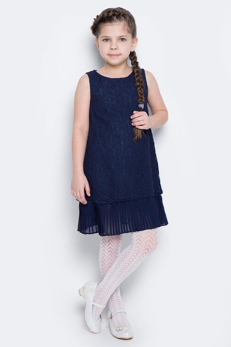 Платье462022Элегантное платье белого цвета создано специально для настоящей принцессы! Верх изделия выполнен из нежного гипюра, мягкая хлопковая подкладка обеспечивает удобство. По низу платье дополнено плиссированной отделкой. Модель без рукавов с круглым вырезом горловины застегивается на потайную молнию по спинке.
