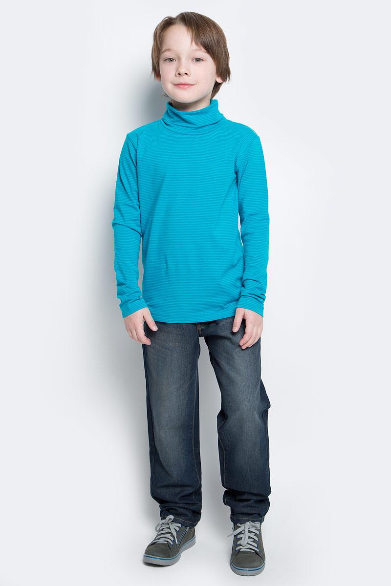 Водолазка361123Мягкая водолазка для мальчика изготовлена из органического хлопка с добавлением эластана. Высокий воротник надежно защищает от ветра. Базовая конструкция и яркий цвет модели в мелкую полоску позволяют создавать стильные образы.