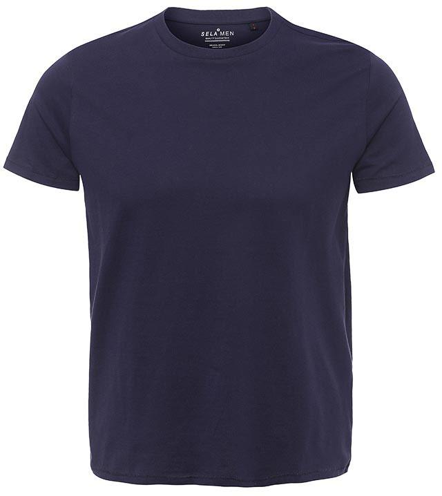 ФутболкаTs-211/1137-7141BСтильная мужская футболка полуприлегающего силуэта Sela изготовлена из натурального хлопка однотонного цвета. Воротник дополнен мягкой трикотажной резинкой. Универсальный цвет позволяет сочетать модель с любой одеждой.
