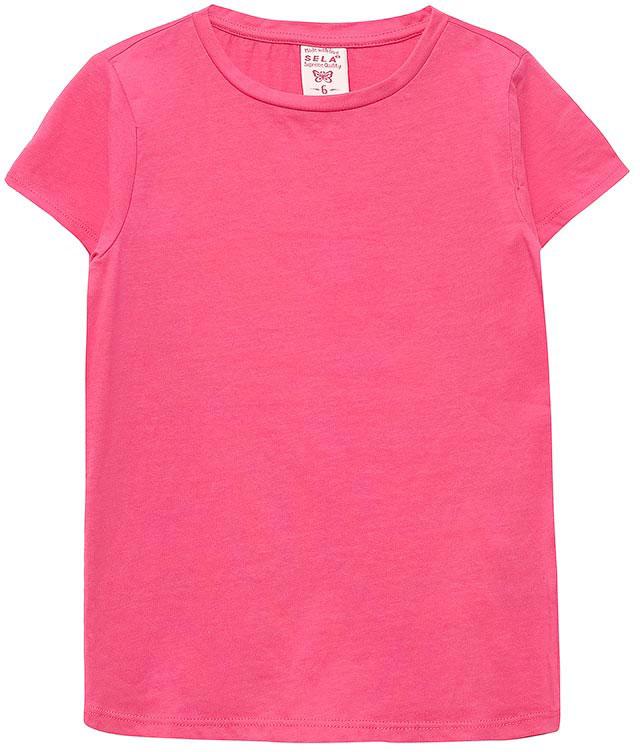 ФутболкаTs-511/318-7142Стильная футболка для девочки Sela станет отличным дополнением к гардеробу юной модницы. Модель прямого кроя изготовлена из натурального хлопка. Воротник дополнен мягкой эластичной бейкой.