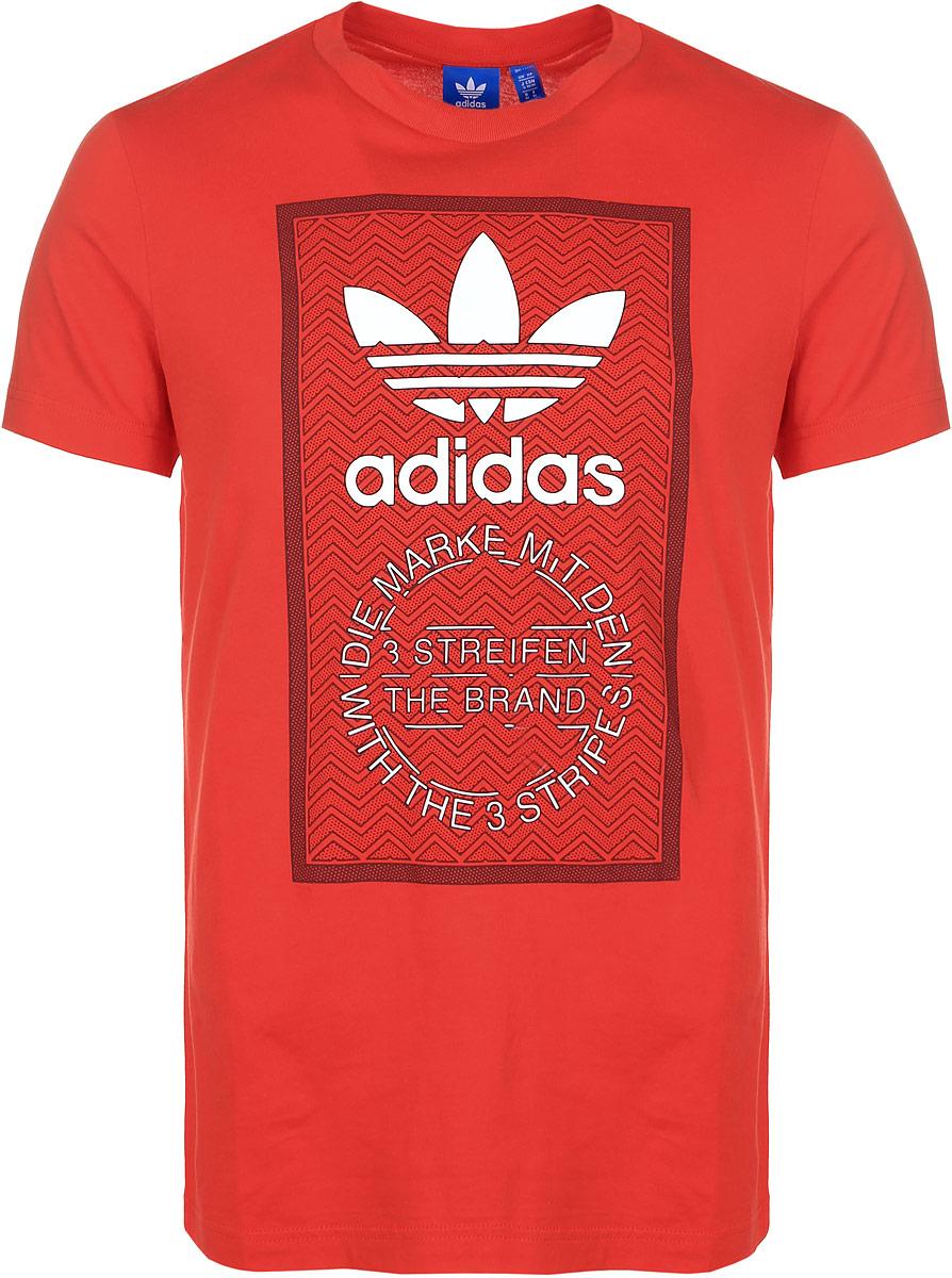 ФутболкаBQ3146Мужская футболка adidas Trf Graphic T 2 с короткими рукавами и круглым вырезом горловины выполнена из натурального хлопка. Футболка украшена контрастным крупным принтом с изображением логотипа бренда adidas.