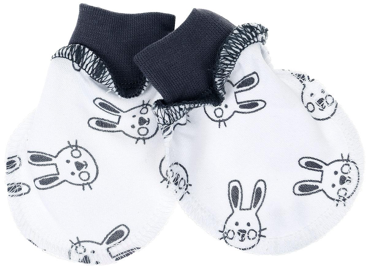 Рукавички1479Рукавички-антицарапки КотМарКот Ушастый с трикотажными эластичными манжетами защитят малышку от случайных царапин и сделают ее сон безопасным. Модель оформлена принтом с изображением мордочек кроликов.