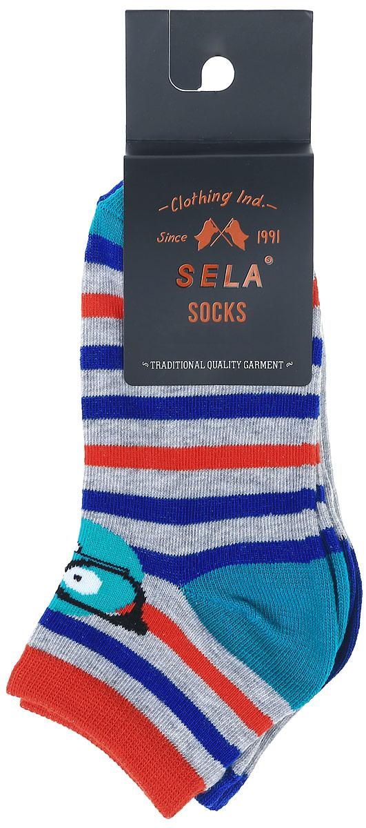 НоскиSOb-7854/013-7102-2setНоски для мальчика Sela изготовлены из высококачественного эластичного хлопка с добавлением полиэстера. Укороченные носки имеют эластичную резинку, которая надежно фиксирует носки на ноге. Носки оформлены контрастными полосками и вставками. В комплект входят 2 пары носков с разными принтами.