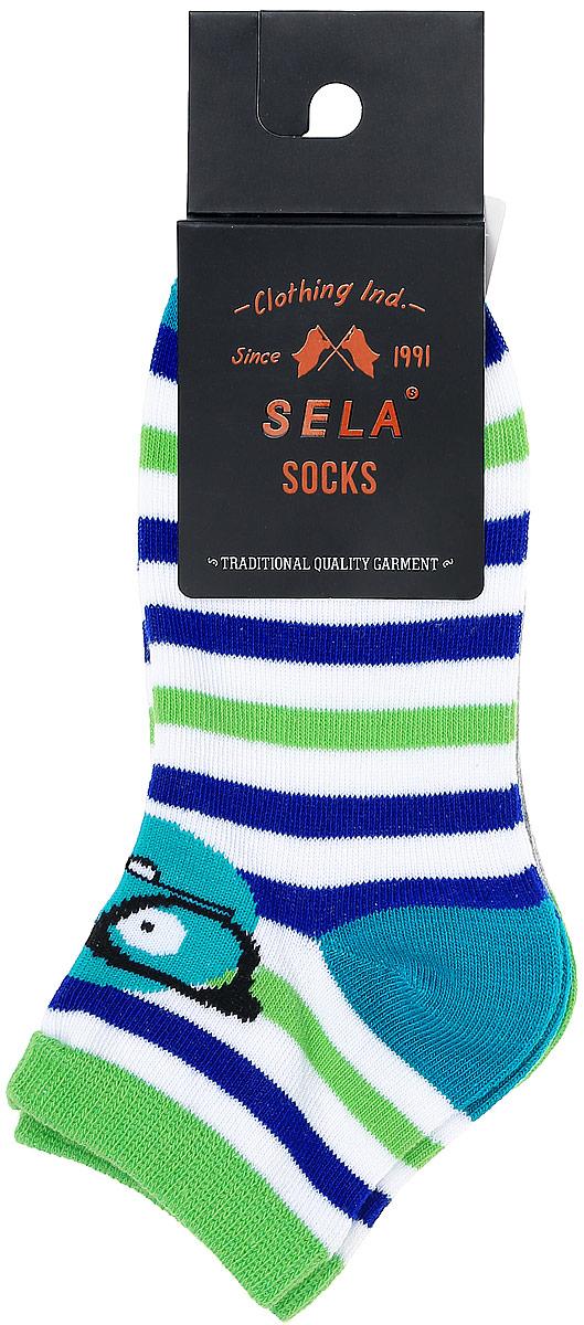 Комплект носковSOb-7854/013-7102-2setНоски для мальчика Sela изготовлены из высококачественного эластичного хлопка с добавлением полиэстера. Укороченные носки имеют эластичную резинку, которая надежно фиксирует носки на ноге. Носки оформлены контрастными полосками и вставками. В комплект входят 2 пары носков с разными принтами.