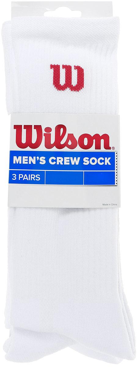 Комплект носков для теннисаWRA510700Мужские носки для тенниса Wilson Crew Sock изготовлены из высококачественного эластичного хлопка с добавлением полиэстера и нейлона. Удлиненные носки имеют эластичную резинку, которая надежно фиксирует носки на ноге. Модель оформлена небольшим логотипом бренда. В комплект входят 3 пары носков.