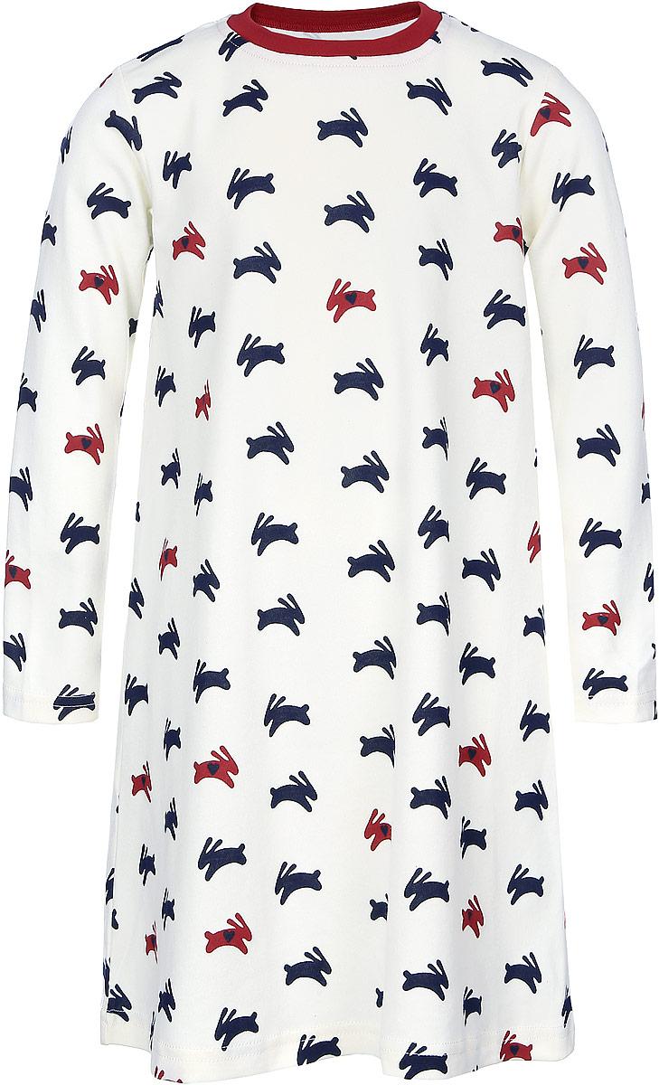 Платье21744Платье для девочки КотМарКот Зайцы выполнено из эластичного хлопка. Модель средней длины с длинными рукавами имеет круглый вырез горловины, отделанный эластичной бейкой. Платье оформлено принтом с изображением зайцев.