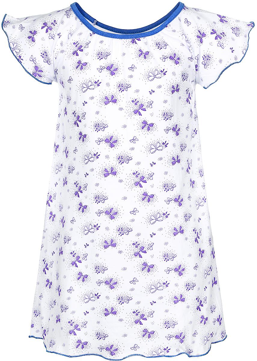 С8010301Ночная сорочка для девочки M&D выполнена из натурального хлопка. Модель прямого кроя с круглым вырезом горловины и короткими рукавами-крылышками оформлена принтом с изображением бантиков. Вырез горловины дополнен бейкой контрастного цвета.