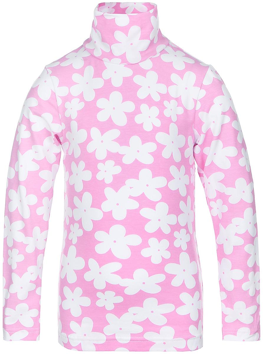 Водолазка13741Водолазка для девочки КотМарКот Ромашка с длинными рукавами и воротником-гольф выполнена из натурального хлопка. Изделие оформлено контрастным цветочным принтом.