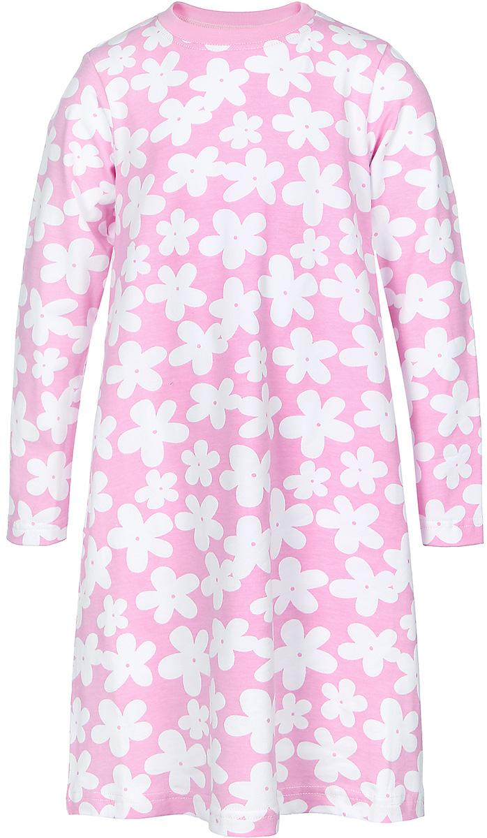 21741Платье для девочки КотМарКот Ромашка выполнено из натурального хлопка. Модель средней длины с длинными рукавами имеет круглый вырез горловины, отделанный эластичной бейкой. Платье оформлено контрастным цветочным принтом.