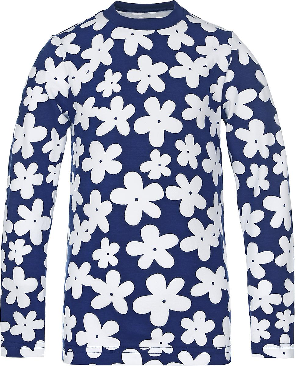 Лонгслив15741Лонгслив для девочки КотМарКот Ромашка с круглым вырезом горловины и длинными рукавами изготовлен из натурального хлопка. Лонгслив оформлен контрастным цветочным принтом.