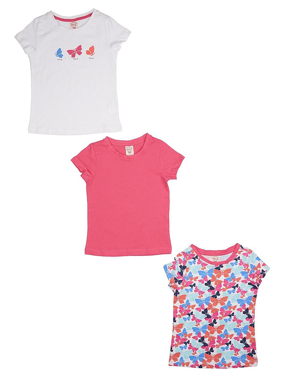ФутболкаTs-511/317-7142S-3setКомплект Sela, состоящий из 3 ярких футболок для девочки, станет отличным дополнением к гардеробу юной модницы. Футболки прямого кроя изготовлены из натурального хлопка и оформлены оригинальным принтом. Воротник дополнен мягкой эластичной бейкой.