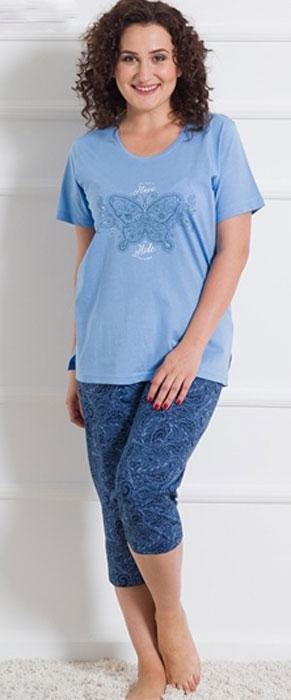 Домашний комплект609039 2181Домашний женский костюм Vienettas Secret, состоящий из футболки и бридж, изготовлен из натурального хлопка. Футболка с круглым вырезом горловины и короткими рукавами оформлена принтом с бабочкой. Бриджи с эластичным поясом имеют утягивающий шнурок, который улучшает посадку на талии. Выполнено изделие стильным принтом с узорами.