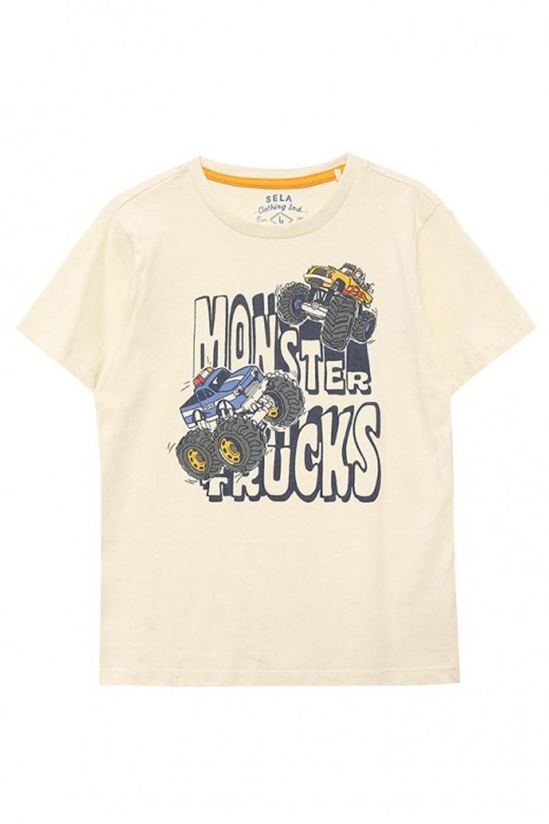 ФутболкаTs-711/513-7111Стильная футболка для мальчика Sela изготовлена из натурального хлопка и оформлена оригинальным принтом. Воротник дополнен мягкой трикотажной резинкой. Яркий цвет модели позволяет создавать модные образы.
