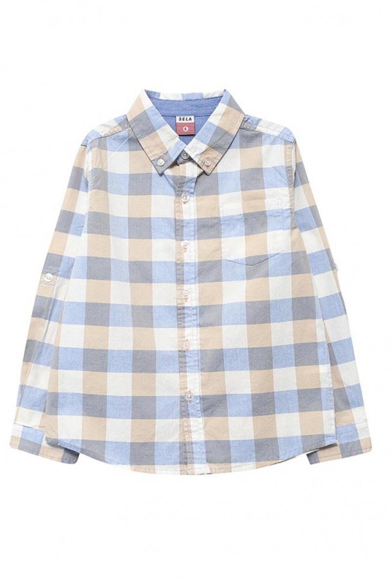 РубашкаH-712/064-7112Стильная рубашка для мальчика Sela выполнена из натурального хлопка и оформлена принтом в крупную клетку. Модель прямого кроя с длинными рукавами и отложным воротничком застегивается на пуговицы и дополнена накладным карманом на груди. Манжеты рукавов и воротничок также дополнены пуговицами. Рукава можно подвернуть и зафиксировать при помощи хлястиков на пуговицах.